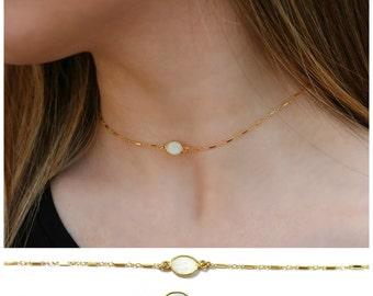 Opal Choker Necklace,  Gold Choker Necklace, Dainty stone Choker, Choker Necklace, Delicate Choker Necklace