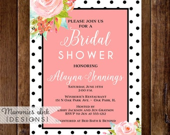 Black and White Dots Invitation, Watercolor Invitation, Bridal Shower Invitation, Shower Invite, Floral Invitation, Modern Invite
