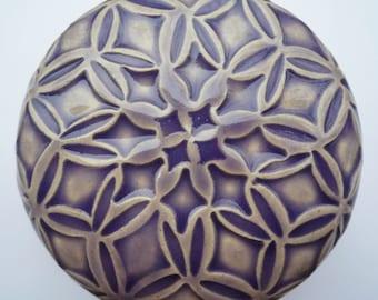 Handcarved Stoneware Lidded Pot Flowers and Diamond sLidded Jewelry Box  Purple Lavender