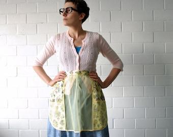 pale yellow sheer vintage half apron - 1211291