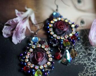 Dark rose earrings- bold lightweight romantic bohemian earrings, hand beaded
