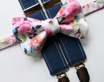 Little and Big Guy Bow tie and Suspender SET -Bright Floral and Navy Suspenders -(Newborn-Adult)