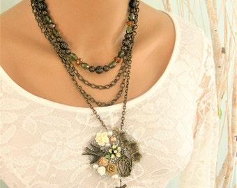 Multi Strand Necklace, Victorian Multi Strand Pendant Necklace, Beaded Necklace, Multi Strand Necklace Chains, Victorian Pendants, N892