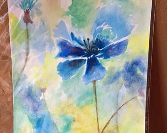 Blue Flower Original Watercolor Painting