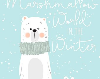 Marshmallow World in the Winter Print - Polar Bear Print, Christmas Wall Art, Blue Christmas Decor, Winter Decor, Polar Bear Decor