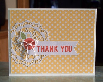 """Stampin Up Thank You Card - 4 1/4"""" x 5 1/2"""" - Paper Doily, Floral Die-Cut & Baker's Twine Bow"""