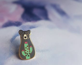 Cactus Bear Pin - Hard Enamel Pin - Gold Plated