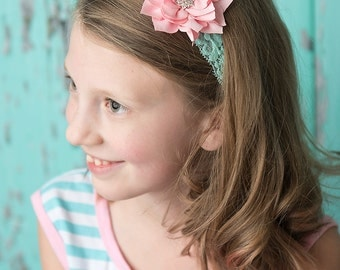 Light Pink flower headband, aqua Elastic Headband, baby headband, baby shower, girl hair accessories, photography prop, wedding flower girl