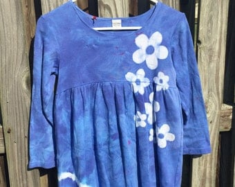 Blue Girls Dress, Flower Girls Dress, Blue Flower Dress, Tie Dye Dress, Batik Girls Dress, Long Sleeve Girls Dress (8)