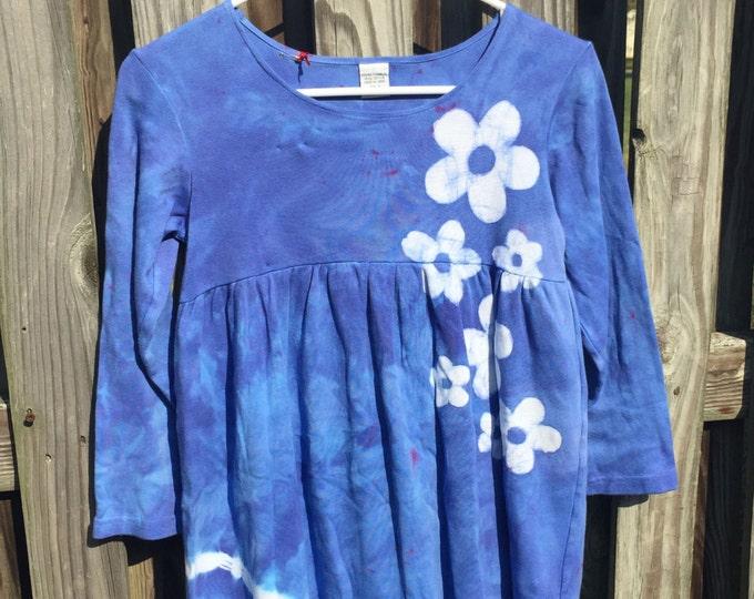 Blue Girls Dress, Flower Girls Dress, Blue Flower Dress, Tie Dye Dress, Batik Girls Dress, Long Sleeve Girls Dress (8)
