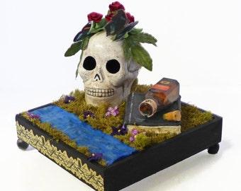 Gothic Diorama - Skull Dark Art - Memento Mori Art - Vanitas Art Piece - Death Art