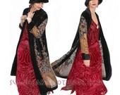 SunHeart Goddess vintage inspired BLACK SILK VELVET Size Coat one size Sml Med Large xl
