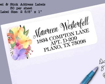 Return Address Labels, Watecolor Spring Florals, Colorful Flowers, Wedding, Bridal or Baby Shower, Birthday Party, 30 Labels to the Sheet