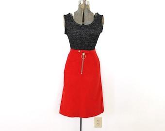 60s Mod Skirt / 1960s Red Mod High Waisted Corduroy Skirt