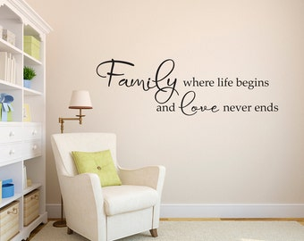 Family Wall Decal - Family where life begins and love never ends decal - Living Room Wall Sticker