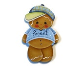 Sweet Gingerbread Boy Fridge Magnet or Ornament, Handpainted Wood Gingerbread Refrigerator Magnet, Hand Painted Ginger, Tole Painting