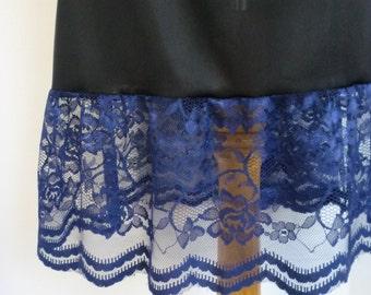 Slip Extender - Navy Blue Lace Long  Ruffle Trim , Lace Slip Extender, Skirt Slip Extender - XS S M L XL XXL