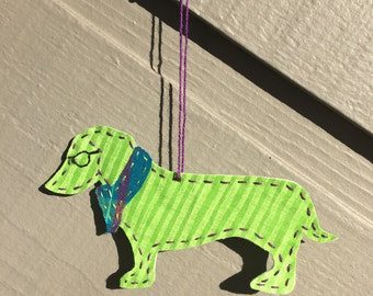 Hand Stitched Teal Hipster Dachshund Ornament