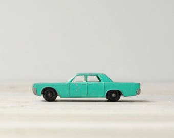 Vintage Matchbox Car, Lincoln Continental by Lesney, Green Toy Car