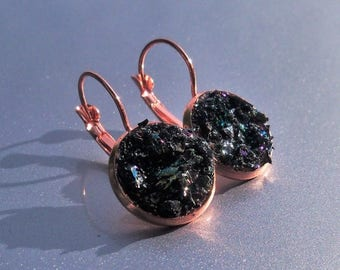 15% OFF Carborundum Crater Copper Druzy French Earrings