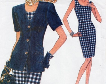 Very Easy Vogue 8325 / Vintage Sewing Pattern / Sheath Dress And Jacket / Sizes 6 8 10