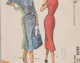 McCalls 3823 / Vintage 50s Sewing Pattern / Dress / Size 14 Bust 34