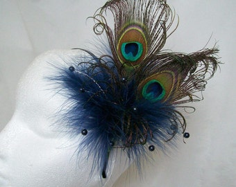 Navy Peacock Fascinator- Dark Blue Feather & Crystal Pearl Burlesque Rustic Steampunk Wedding Fascinator Hair Comb Band-  Made to Order