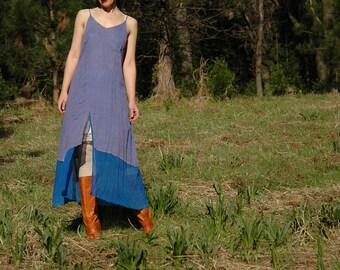 Size Medium... Light Cotton Maxi Slip Dress... Fairy Dress... Mermaid Color Combo