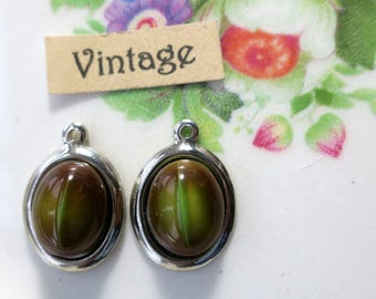 Cat's Eye Vintage Glass charms Green Drops Oval Silver Tone Eyes Black Cat Lovers NOS #52G