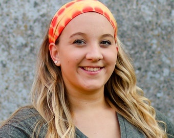 Hippie Hair Band, Orange Head Wrap, Jersey Knit Bandana, Orange Tie Dye Headwrap, Orange Workout Headband (#1021) S M L X