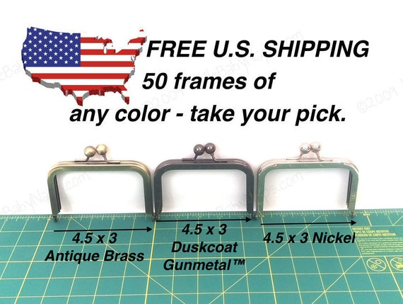 50 frames of 4.5x3 purse frame - 4 inch wallets of your choice in Antique Brass, Duskcoat Gunmetal™ or Nickel