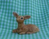 Resting Fawn, Brown Miniature Baby Deer Ceramic Figurine