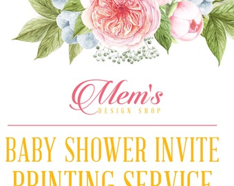 Mem's Design Shop Baby Shower Invitation printing service