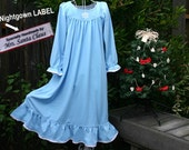 "LAST ONE-Size 8-Girls // Blue Christmas Nightgown--100% Cotton-Knit, ""Handmade by Mrs Santa Claus"" Label // READY to Ship //"