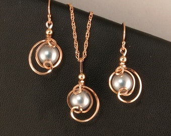 Rose Gold Gray Pearl Jewelry Set, Gray Pearl Rose Gold Wire Wrapped Chain Necklace Wedding Jewelry, Pink Rose Gold Jewelry