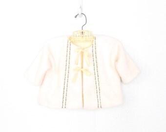 Vintage Baby Sweater * Fuzzy Cream Cardigan * Infant Folk Jacket * 6 - 12 months
