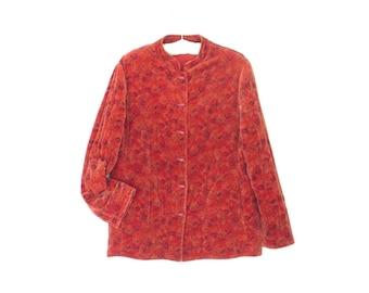 Vintage 70s Jacket * Velvet Nehru Jacket * 1970s Quilted Blazer * Large