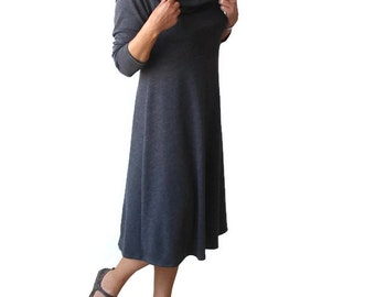 SALE Grey cowl dress, Midi dress, A line dress, Womens clothing, Long sleeve dress, US 8-10 Dress, High waist dress, Winter dress, Dress M