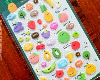 PUFFY Fruit stickers, Orange stickers, Apple stickers, Grape stickers, Peach stickers, Vegetable stickers, Fruit sticker, Suatelier 6