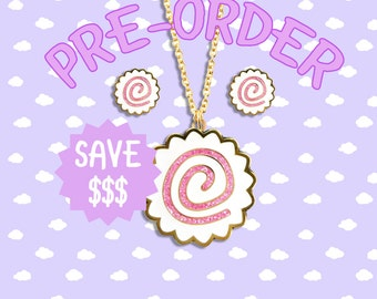 PREORDER Kawaii Naruto Fish Cake Jewelry - Hard Enamel with Glitter Earrings Pendant