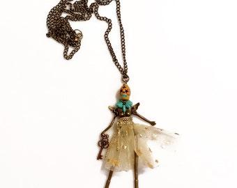 Skull Skeleton Necklace, Creepy Cute Doll Statement Necklace, Dia de Los Muertos Jewelry