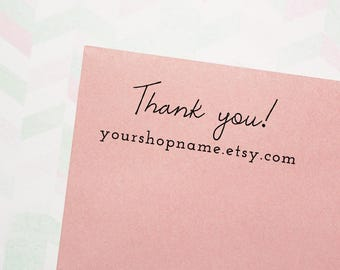 Thank You Stamp, Custom Stamp, Business Card Stamp, Personalized Stamp, Etsy Shop Stamp, Small Business Stamp, Logo Stamp - #TY02