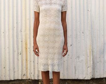 Vintage Cream Crochet 1960's Lace Sheer Open Knit Mini Dress S/M
