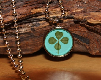 Real Four Leaf Clover Charm Necklace Shamrock Necklace