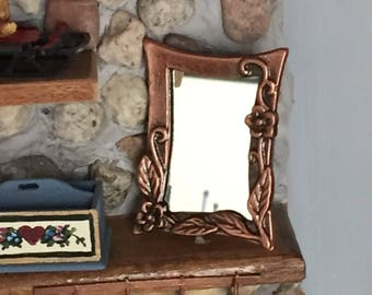 Miniature Copper Wall Mirror, Antique Look Copper, Dollhouse Miniature, 1:12 Scale, Mini Mirror, Dollhouse Accessory, Decor Item