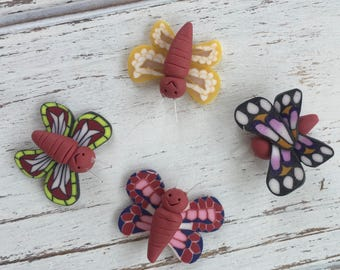 Mini Butterflies, Set of 4, Fimo Clay Butterflies, 1 Inch, 4 Styles, Perfect for Crafts, Arrangements, Favors, Toppers, Embellishments
