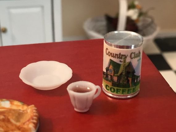 Miniature Coffee Set, Country Club Coffee Can, Coffee Cup and Bowl, Dollhouse Miniature, 1:12 Scale, Dollhouse Accessories, Decor, Kitchen