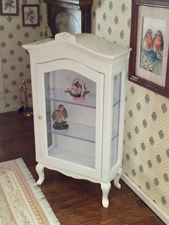 Miniature White Display Cabinet, Dollhouse Miniature Furniture, 1:12 Scale, Miniature Cabinet With Shelves