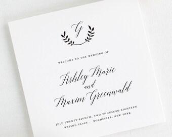 Wreath Monogram Wedding Programs - Deposit
