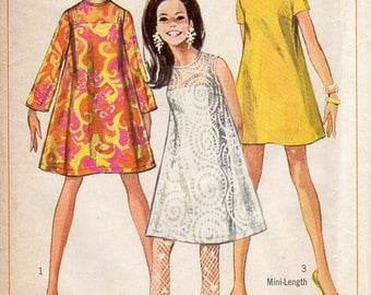 1960s Mod Tent Dress with Slip - Vintage Pattern Simplicity 7584 - Size 12 Bust 34